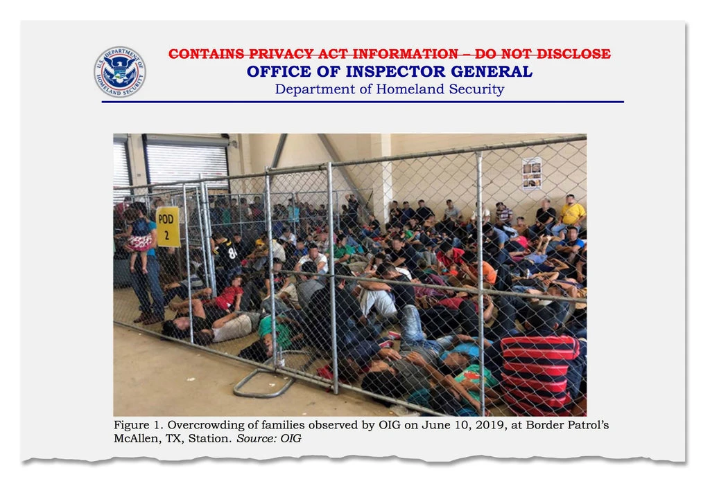"""A page from the Office of Inspector General report on widespread overcrowding and squalid conditions at migrant centers along the southern border. SOURCE: """"Squalid Conditions at Border Detention Centers, Government Report Finds"""", The New York Times, July 2, 2019."""